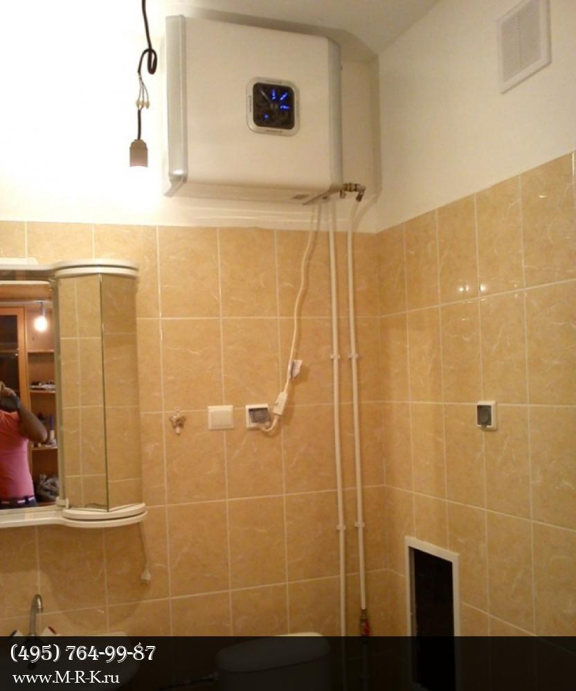 Установка водонагревателя проточного, накопительного.
